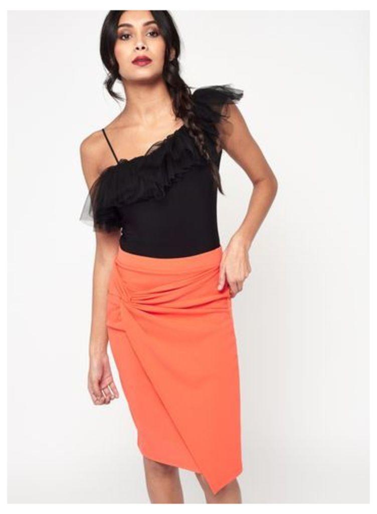 Womens Orange Knot Front Midi Skirt, Orange