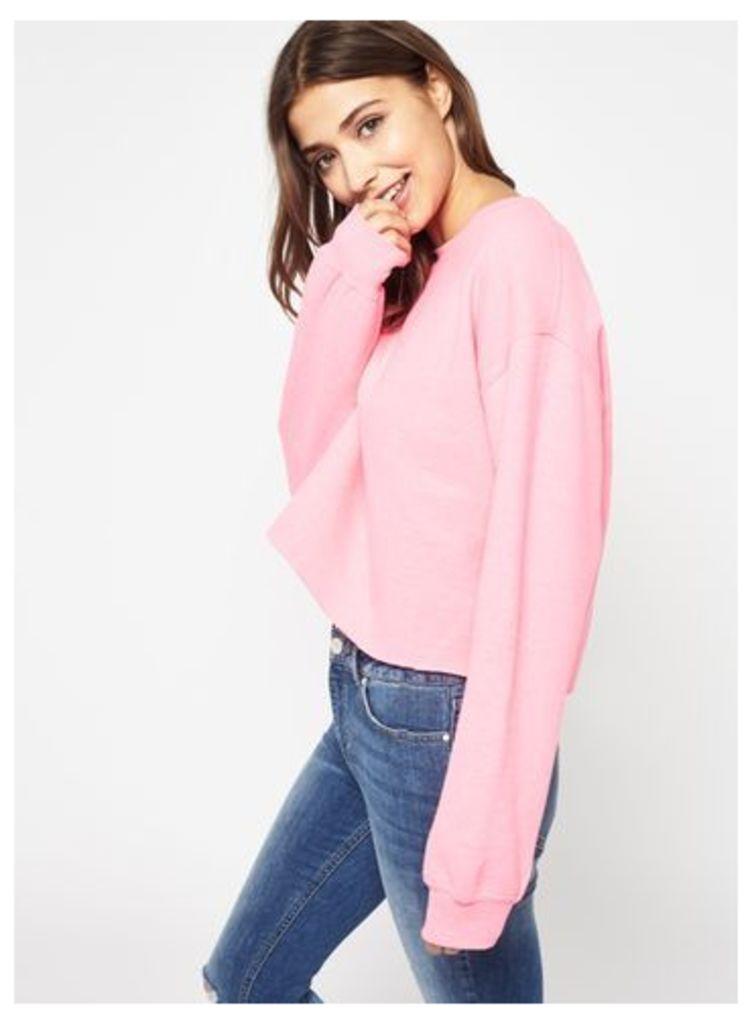 Womens Bright Pink Cropped Sweatshirt, Fluorescent Pink