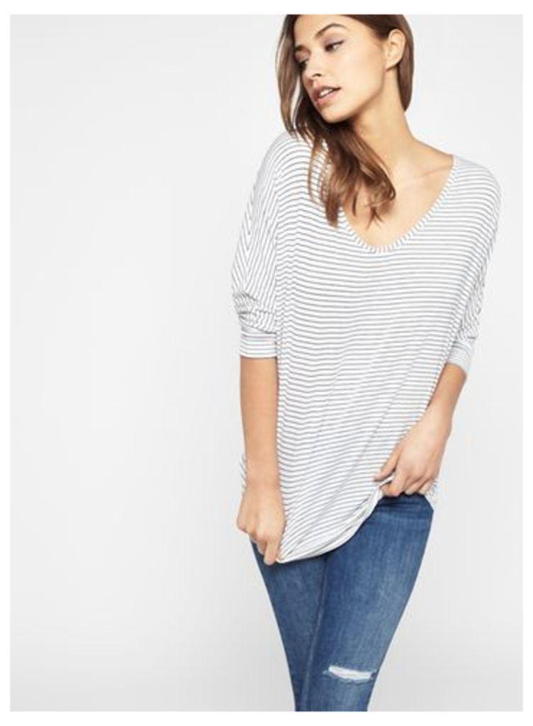 Womens Stripe 3/4 Sleeve Longline Top, Assorted