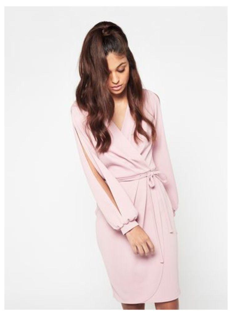 Womens Split Sleeve Wrap Dress, Pink