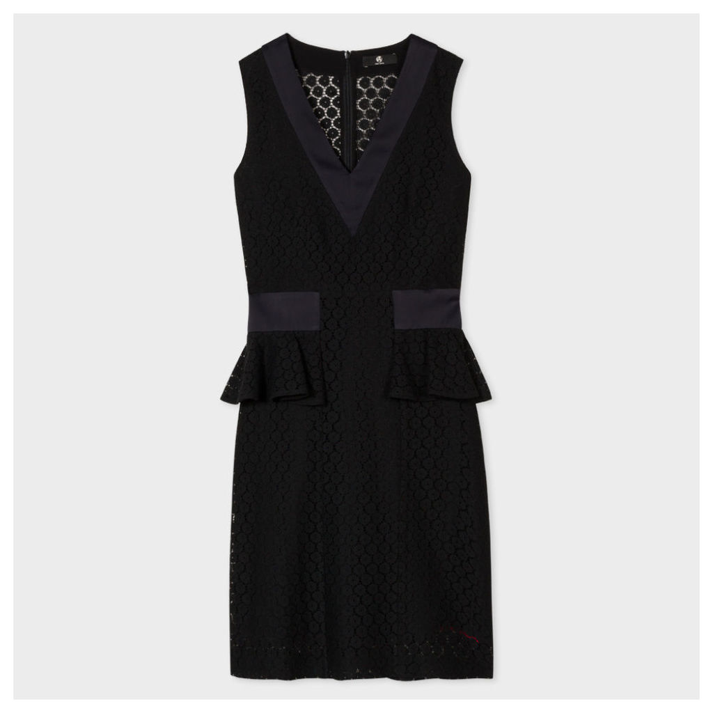 Women's Black Floral-Lace Dress With Silk Panels