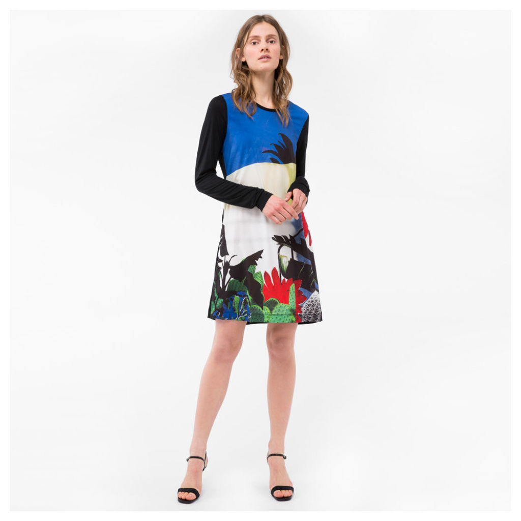 Women's Black 'Colour-Block Botanical' Print Jersey Dress