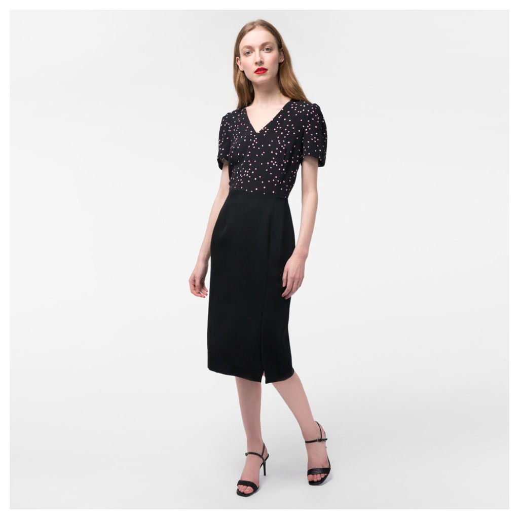 Women's Black Wool And Silk Dress With 'Shadow Spot' Print