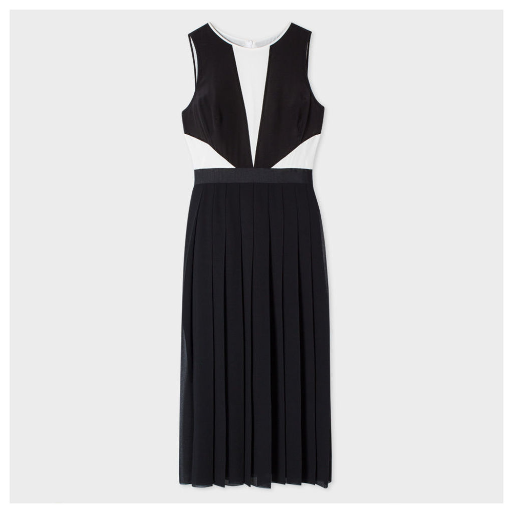 Women's Black And White Silk-Panelled Dress