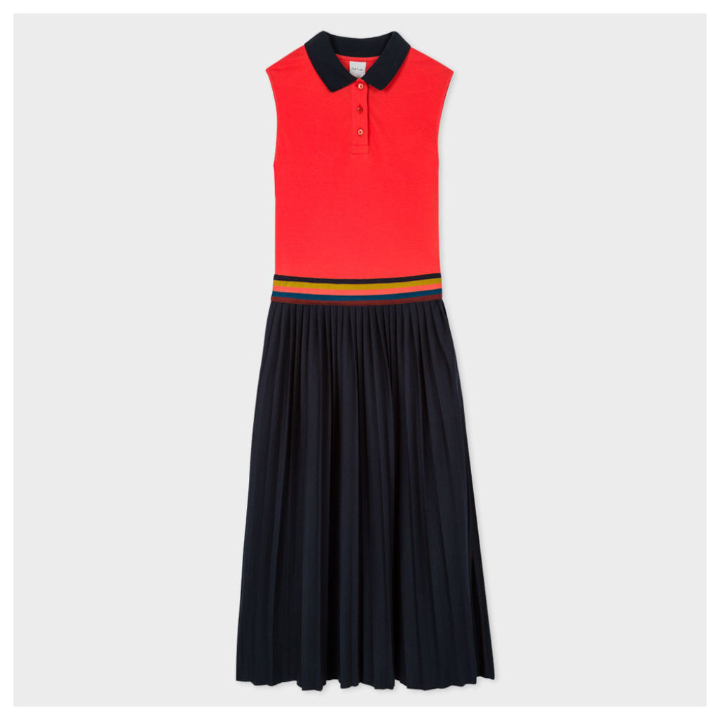 Women's Coral And Navy Polo Dress With Pleated Skirt