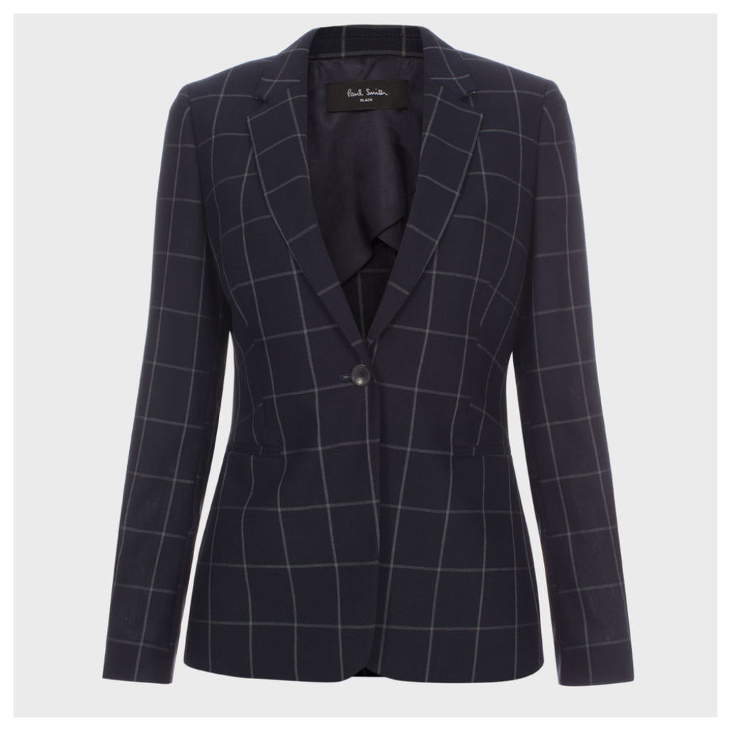 A Suit To Travel In - Navy Windowpane Check Wool Blazer
