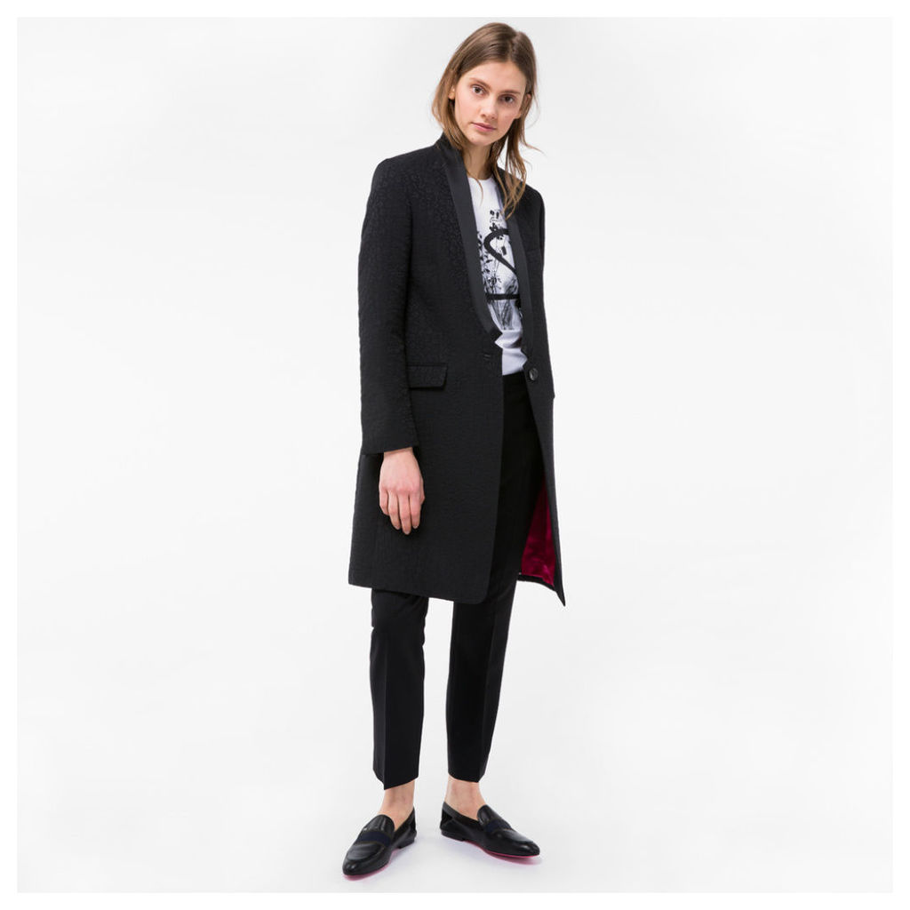 Women's Black 'Musical Note' Jacquard Coat