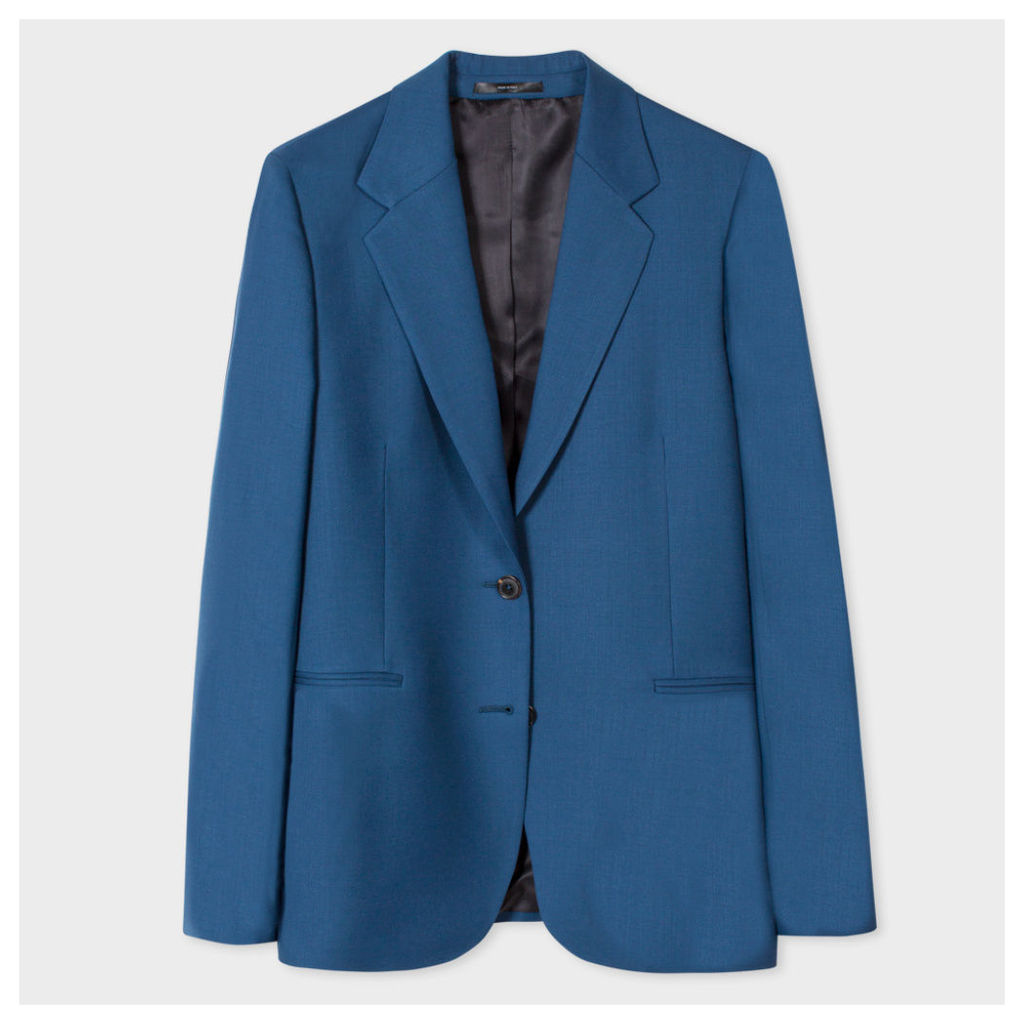 A Suit To Travel In - Women's Petrol Blue Two-Button Wool Blazer