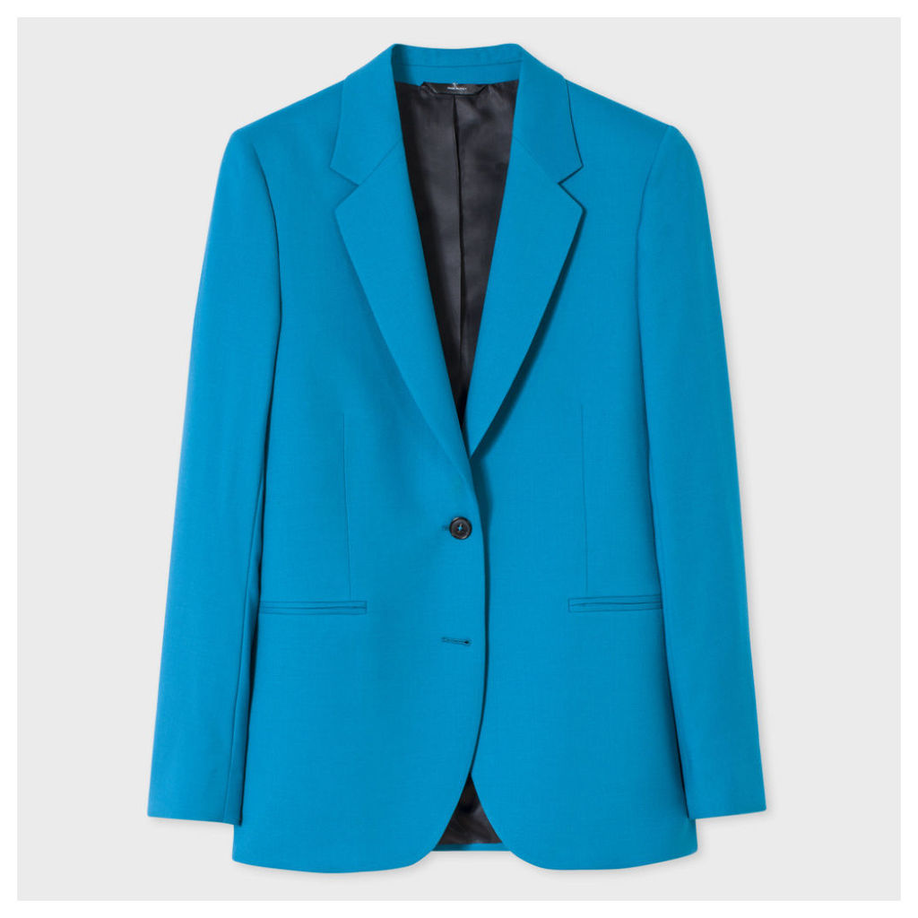 A Suit To Travel In - Women's Turquoise Two-Button Wool Blazer