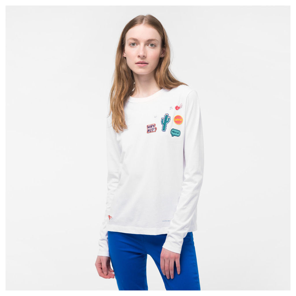 Women's White Long-Sleeve T-Shirt With Appliqué Patches