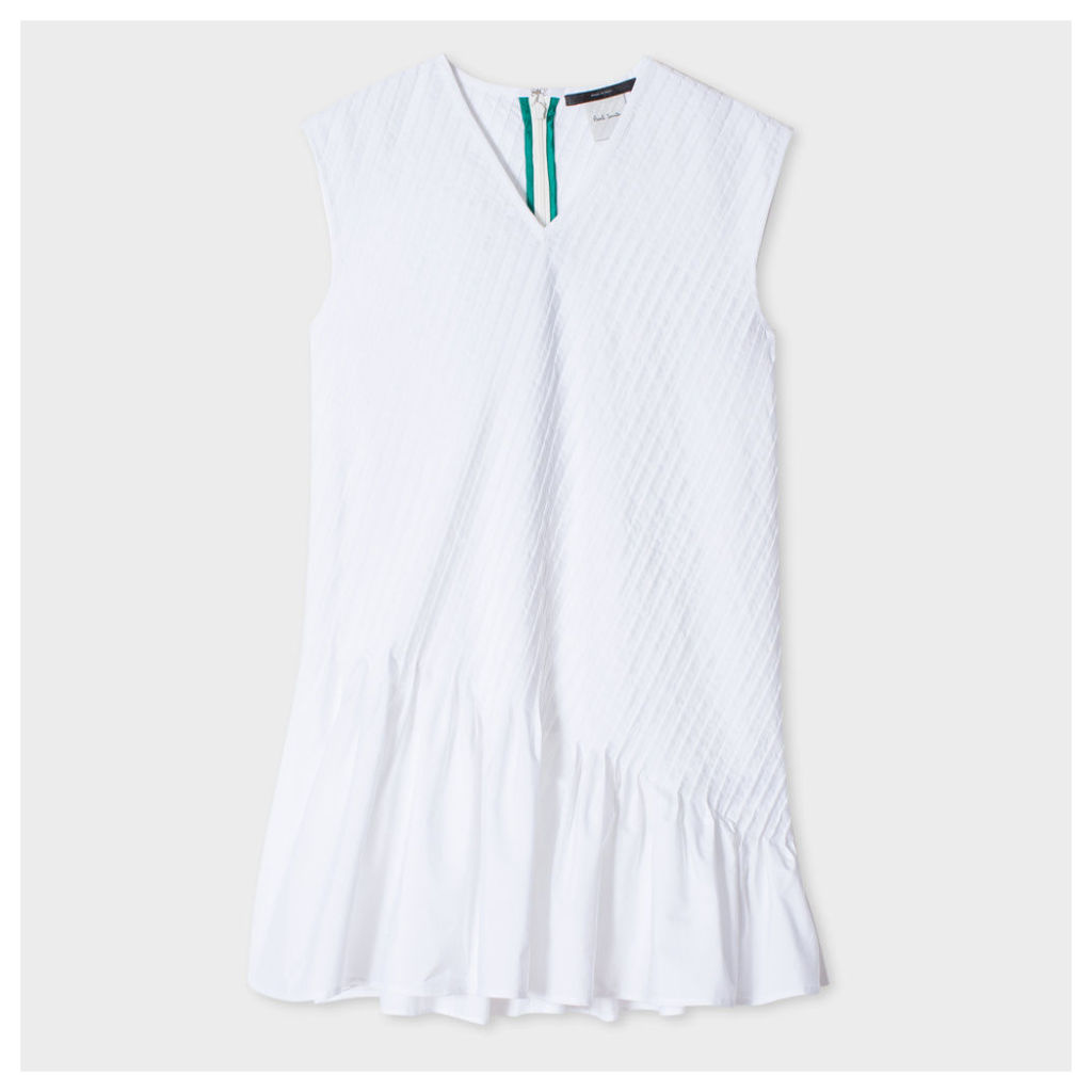 Women's White Pleated Cotton Peplum Top