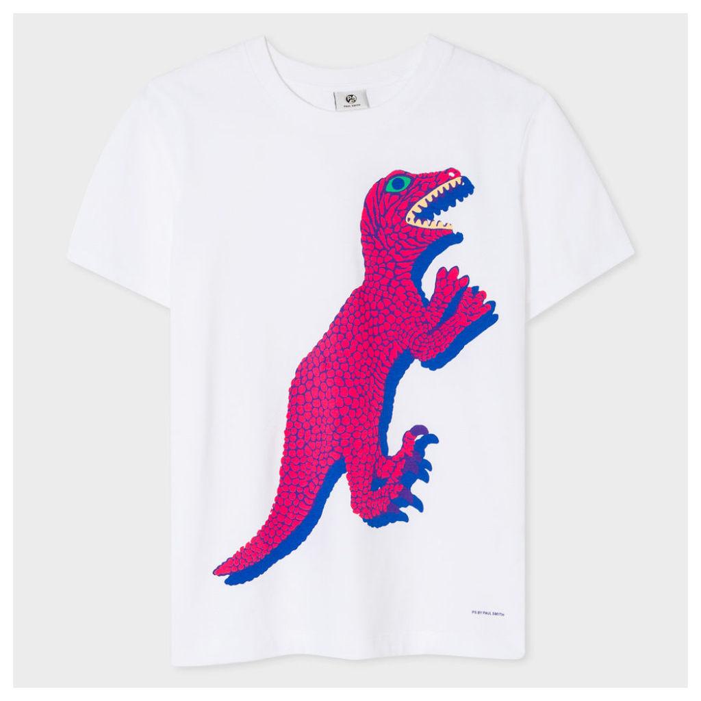 Women's White 'Dino' Print Cotton T-Shirt