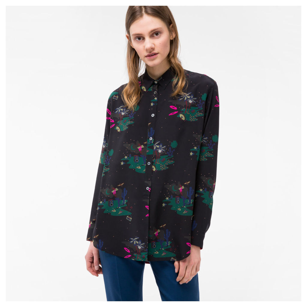 Women's Black 'Island' Print Silk Shirt