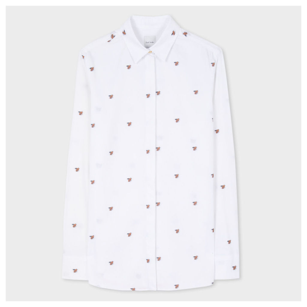 Women's White 'Bee' Motif Cotton-Twill Shirt