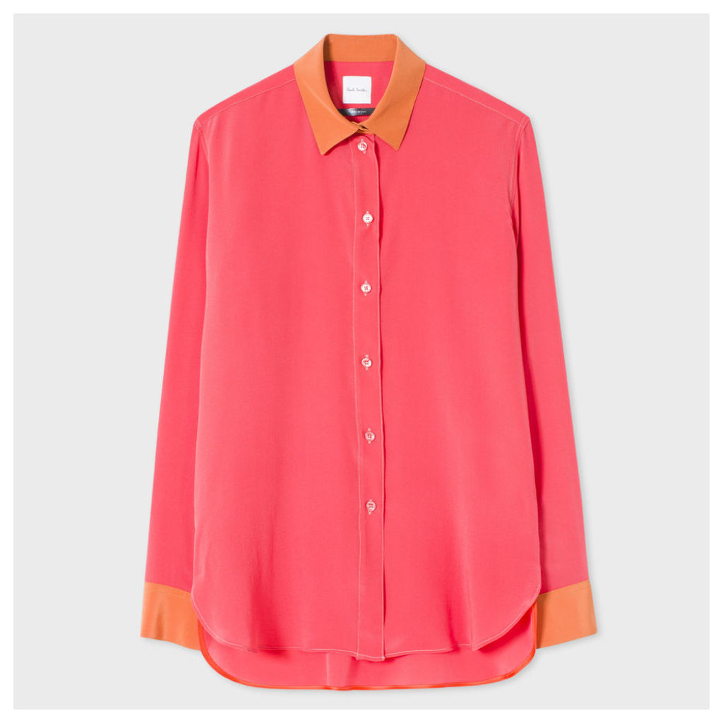 Women's Coral And Burnt Orange Silk Shirt