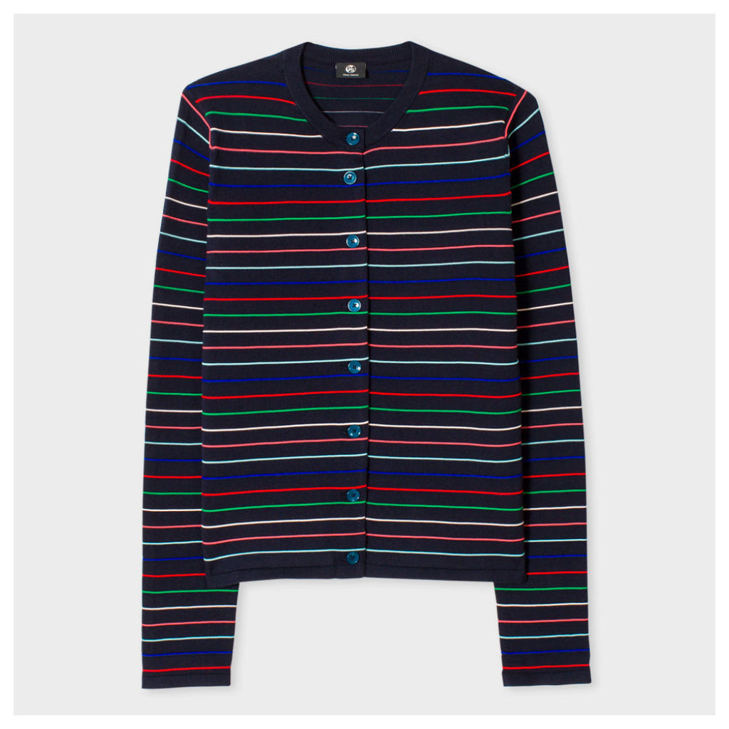 Women's Navy Ribbed-Stripe Cotton-Blend Cardigan