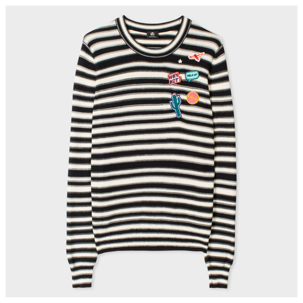Women's Striped Cotton Sweater With Embroidered Patches