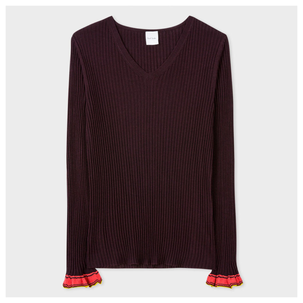 Women's Damson Wool-Silk Ribbed Sweater With Frill Cuffs