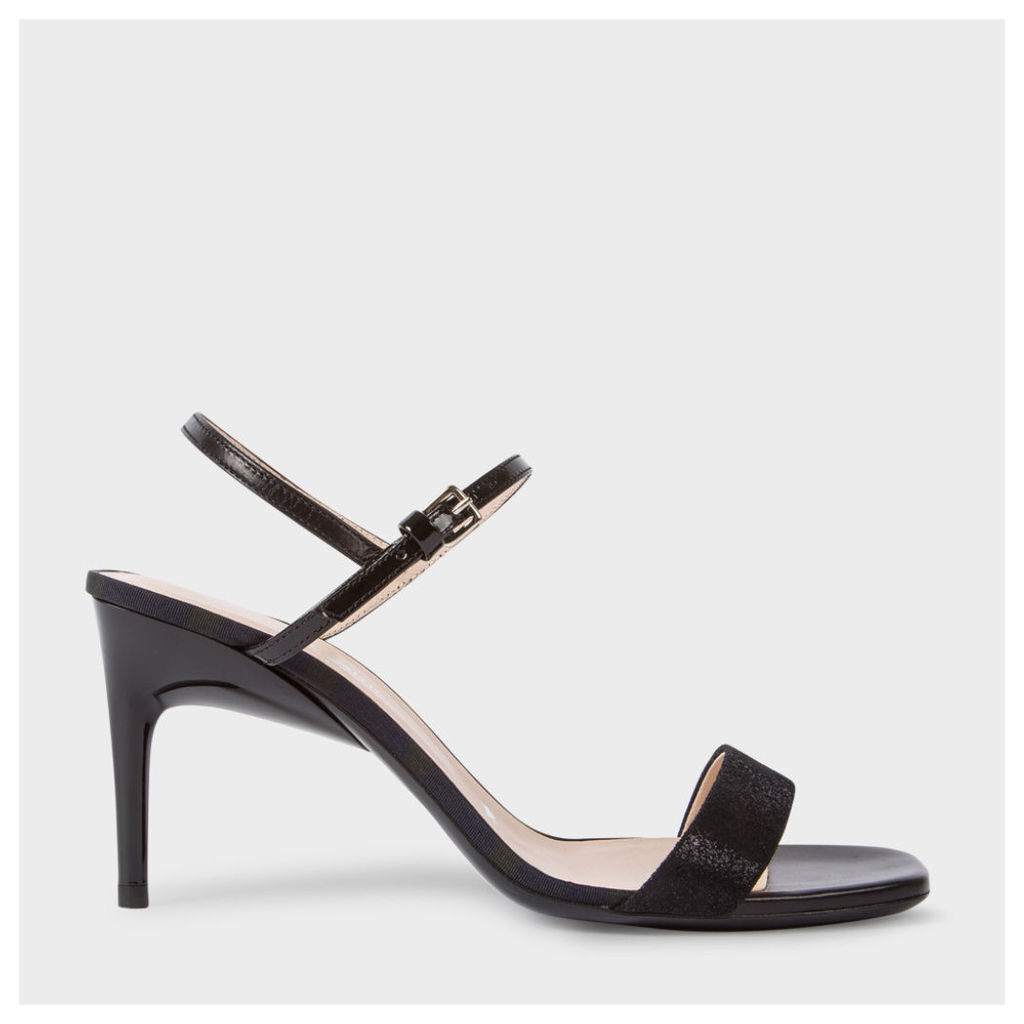 Women's Black Leather 'Nyla' Heeled Sandals