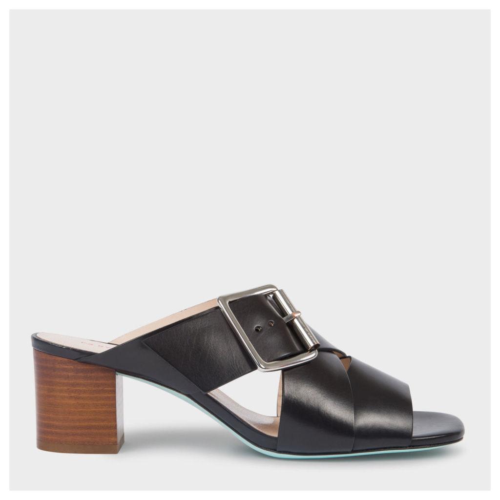 Women's Black Leather 'Kenza' Heeled Sandals