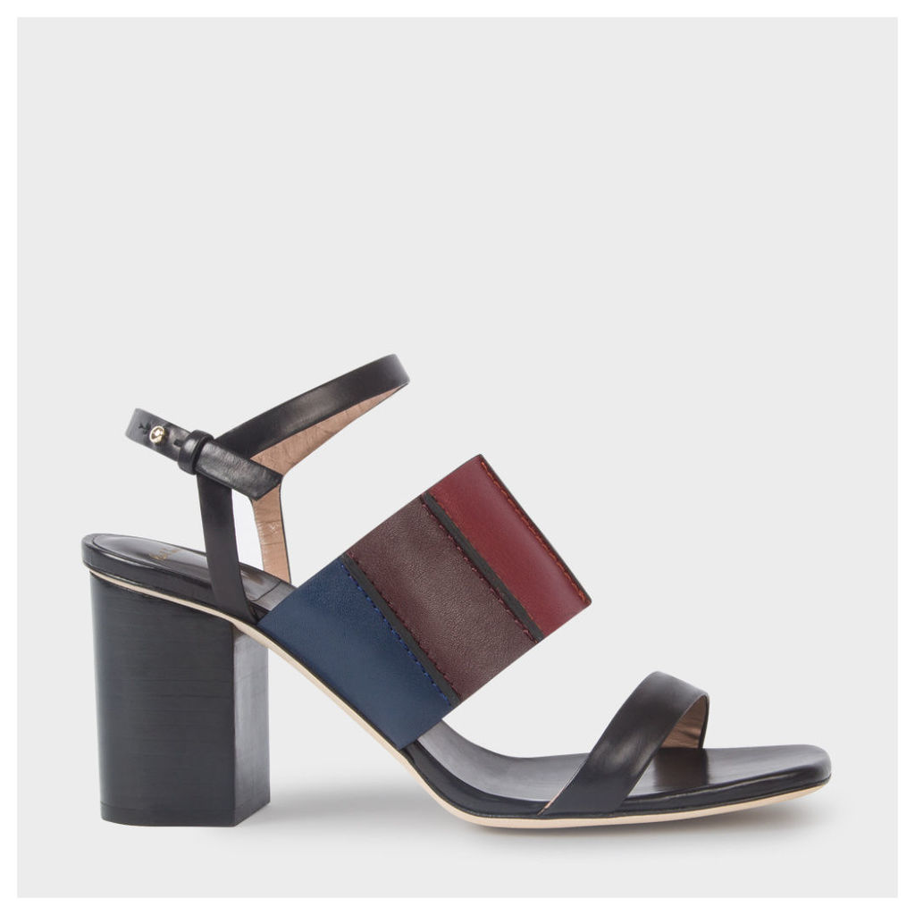 Women's Black Colour-Block Leather 'Constantina' Heeled Sandals