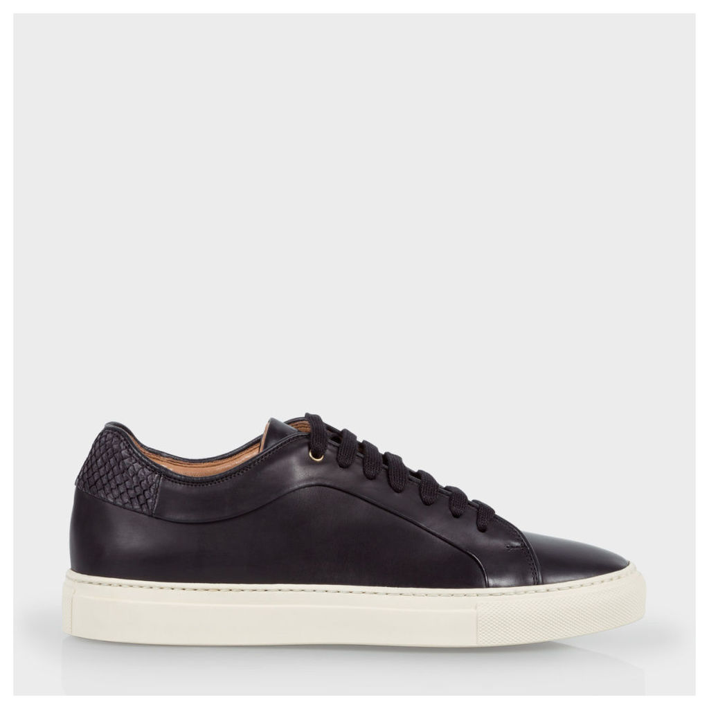 Women's Black Leather 'Basso' Trainers With Salmon-Skin Trims