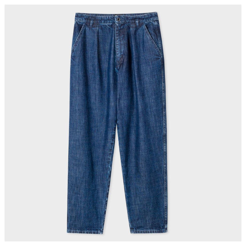 Women's Pleated Mid-Wash Denim Jeans