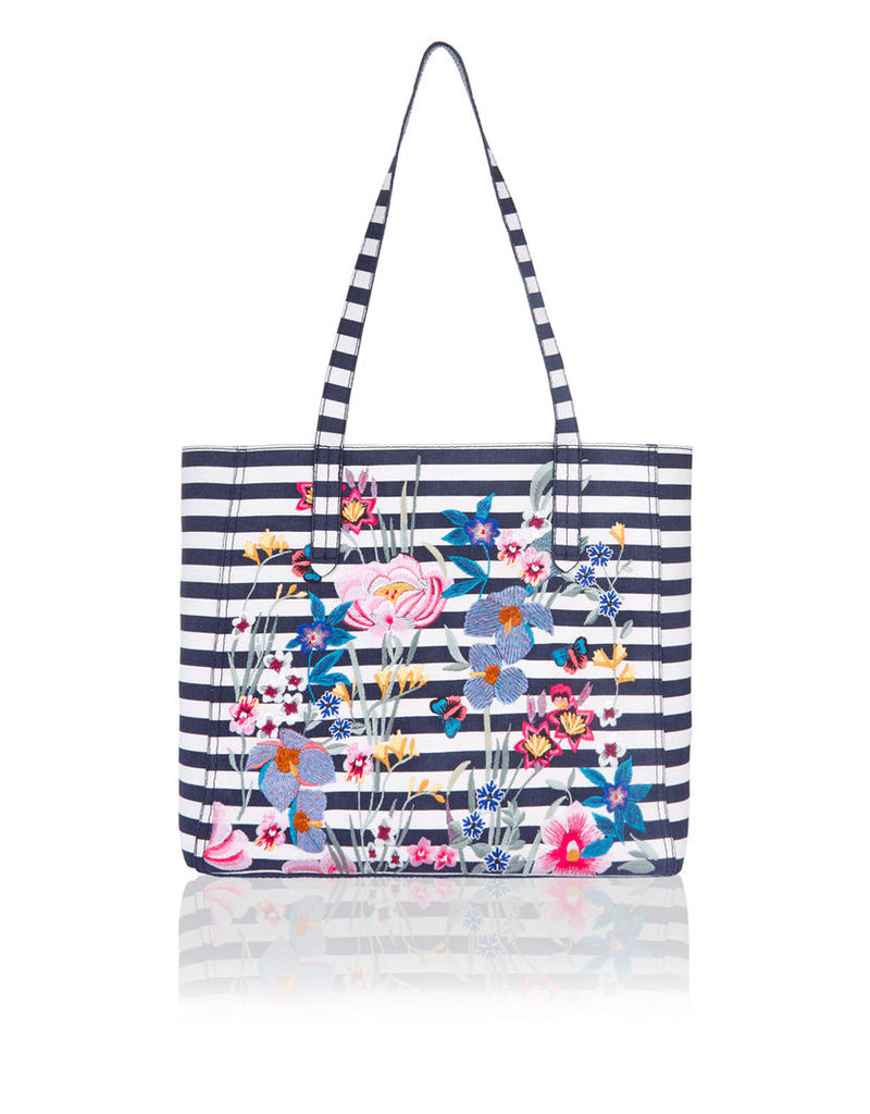 Peony Embroidered Reversible Tote Bag