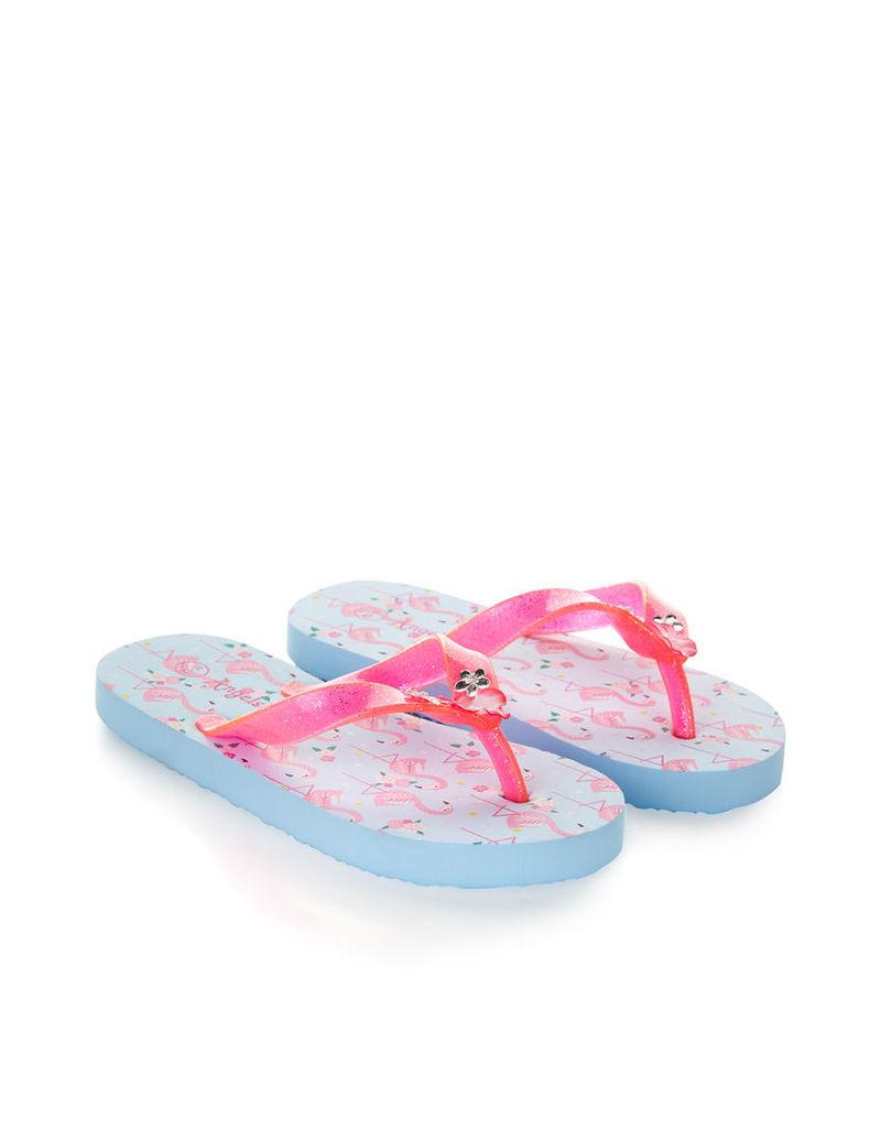 Flamingo Print Flip Flops