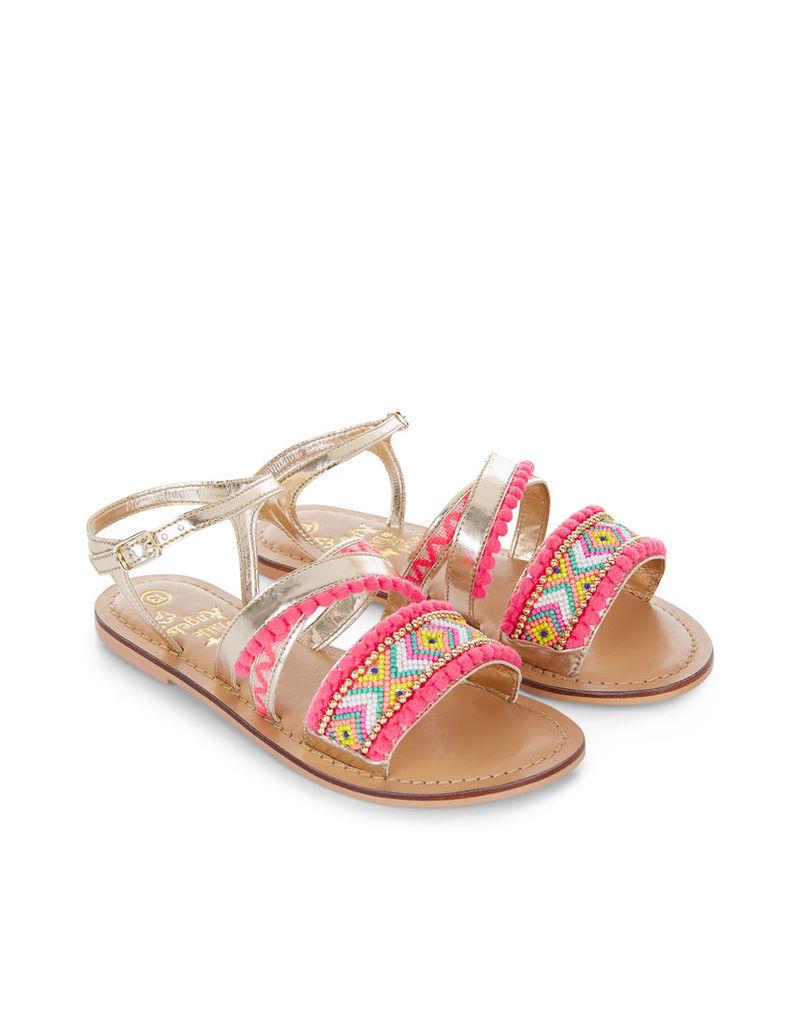 Aztec Pom Pom Sandals
