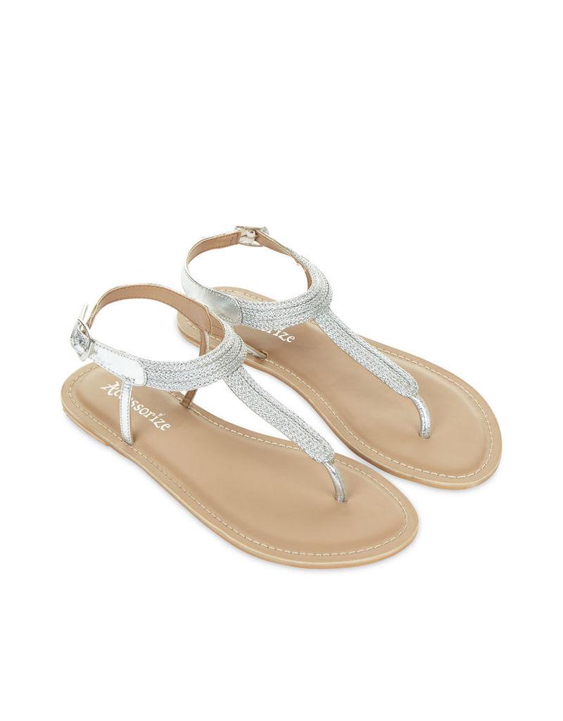 Lucille Metallic Thong Sandals
