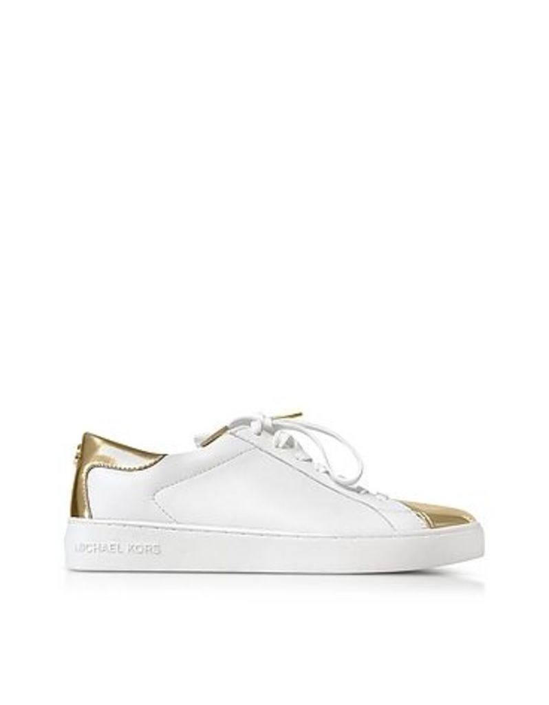 Michael Kors - Optic White and Laminated Gold Leather Frankie Sneaker