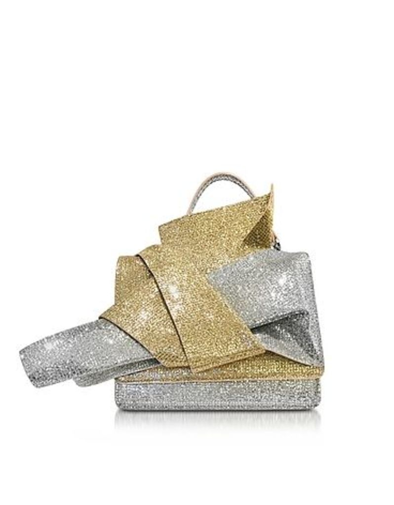 N 21 - Silver and Gold Glitter Crossbody Bag w/Iconic Bow On Front