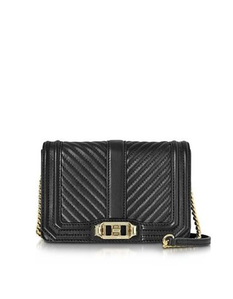 Rebecca Minkoff - Black Quilted Leather Small Love Crossbody Bag