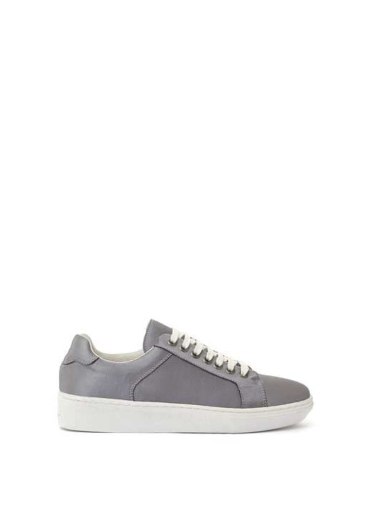 Grey Sandy Satin Lace Up Trainer