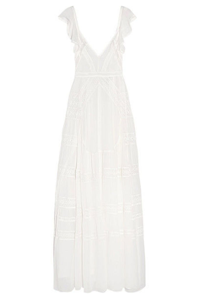 Needle & Thread - Bridal Lace-paneled Silk-crepe Gown - Ivory