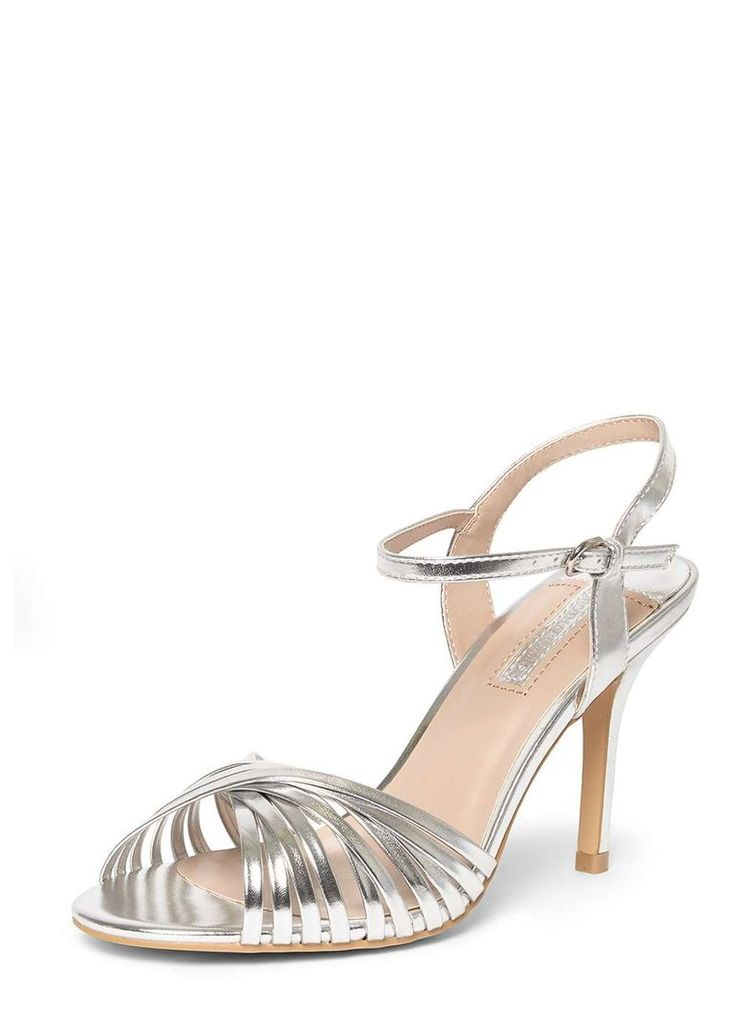 Womens Silver 'Spiral' Strappy Sandals- Silver
