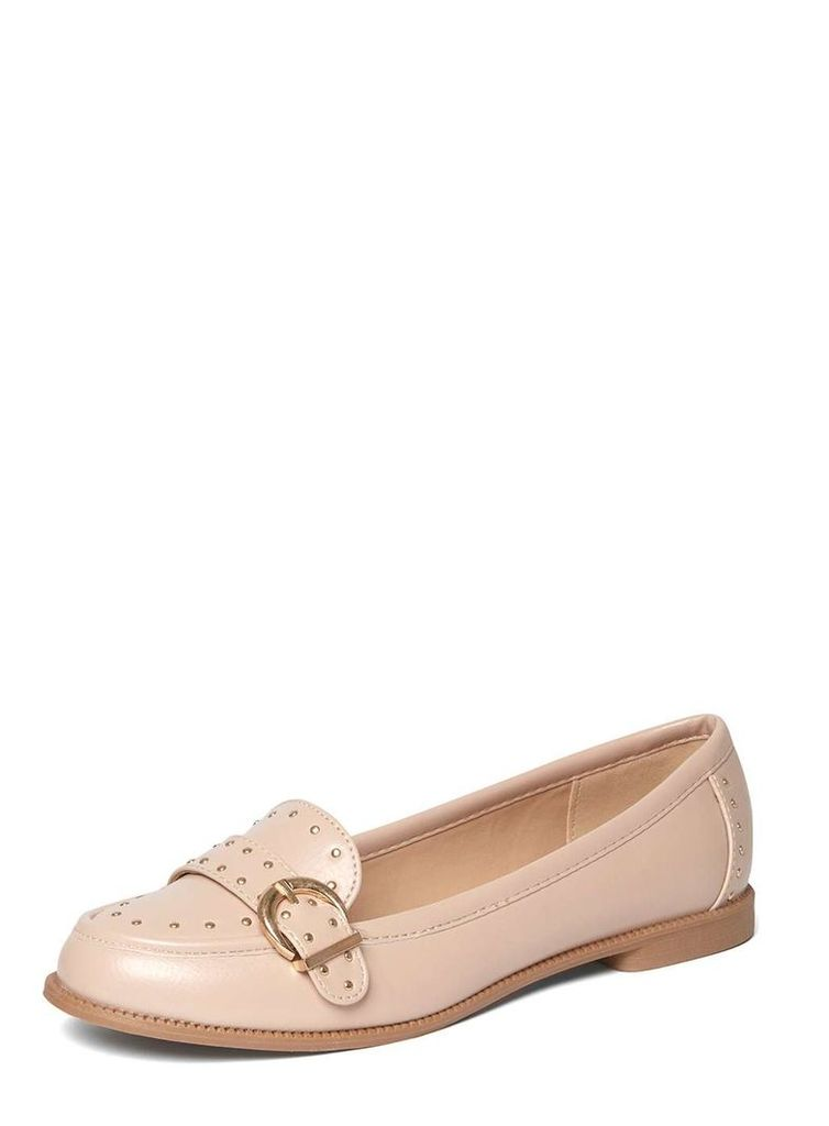 Womens Nude 'Lark' Studded Loafers- Nude