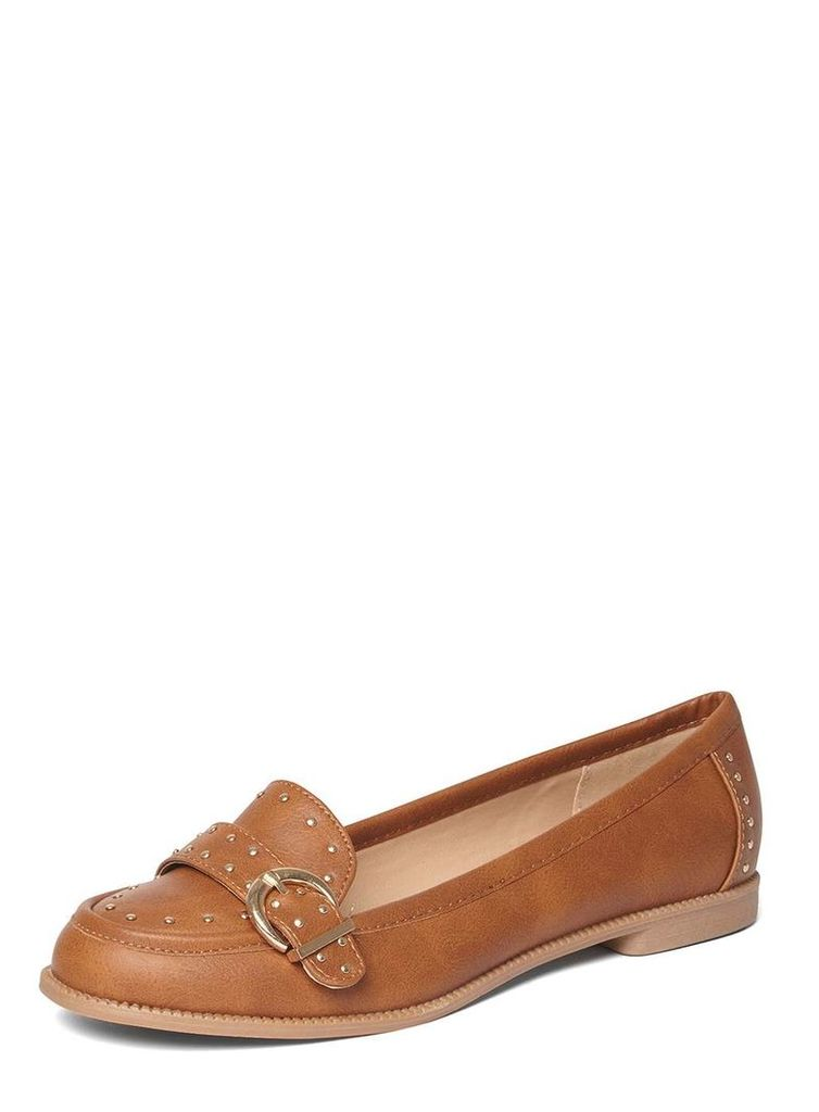 Womens Tan 'Lark' Studded Loafers- Brown