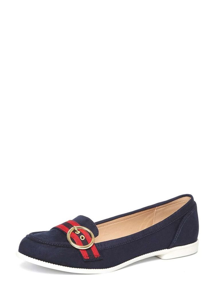 Womens Navy 'Lavender' Buckle Loafers- Blue