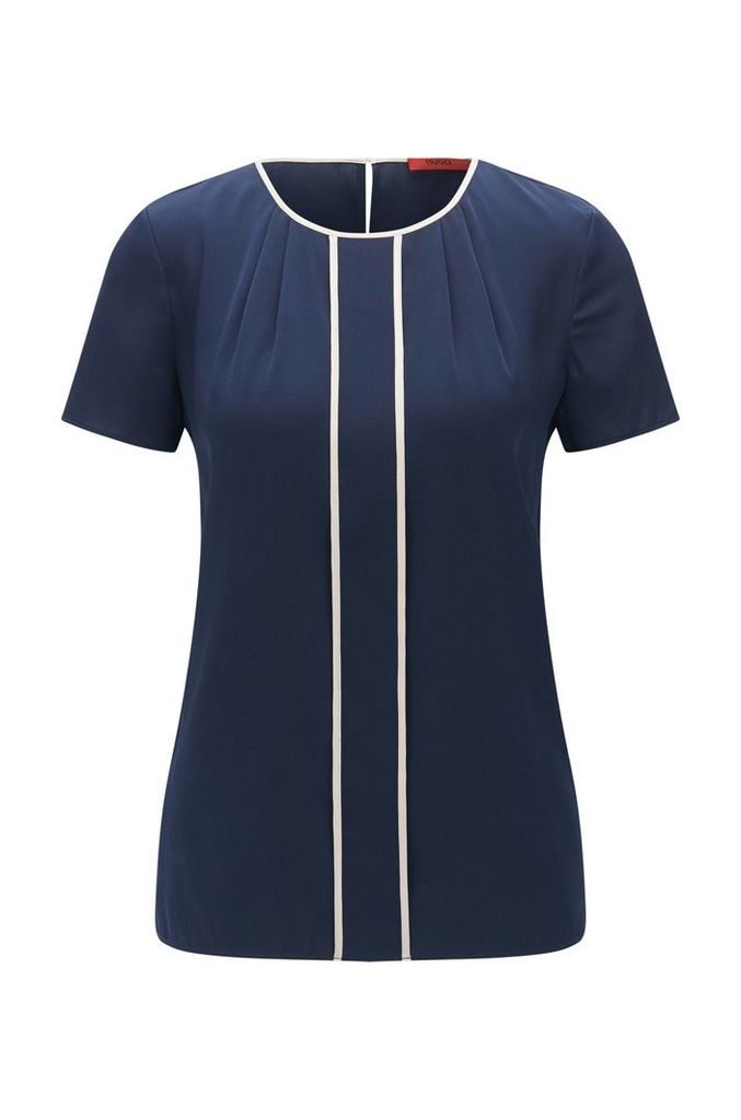 Short-sleeved top in stretch silk with contrasting colour piping: `Conisa-1`