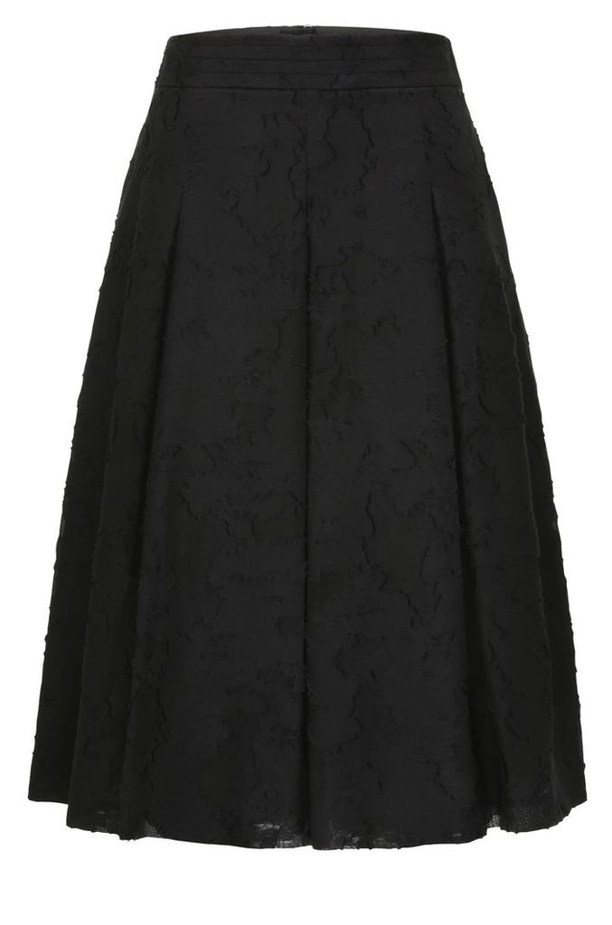 Box pleat skirt with a floral texture in cotton blend with silk: `Bablumy`