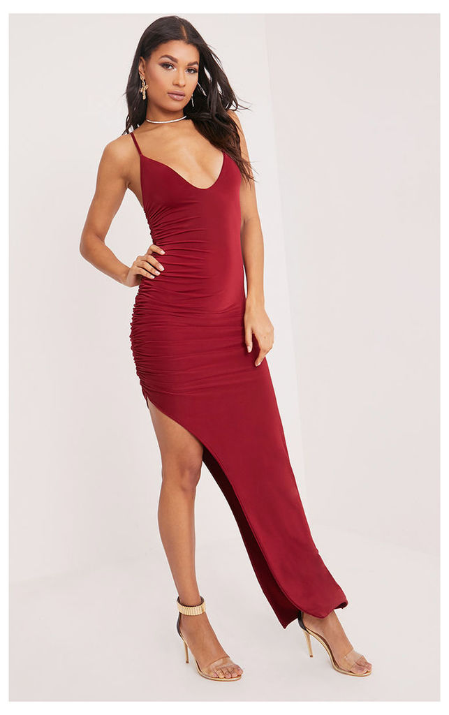 Albian Burgundy Strappy Ruched Maxi Dress, Red