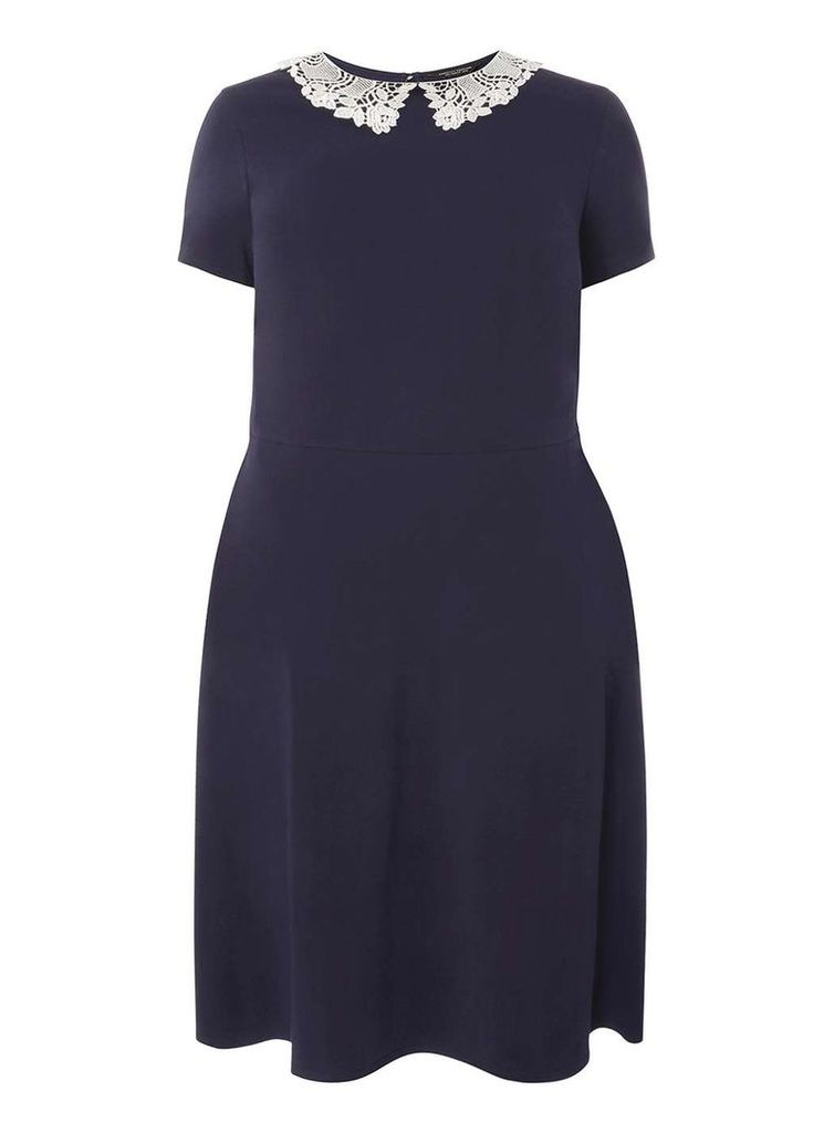Womens DP Curve Plus Size Navy Lace Collar Fit And Flare Dress- Blue