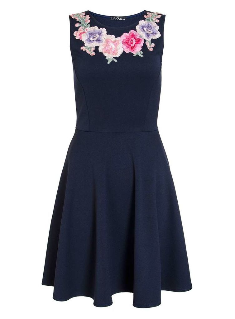 Womens *Quiz Navy Embroidered Skater Dress- Navy