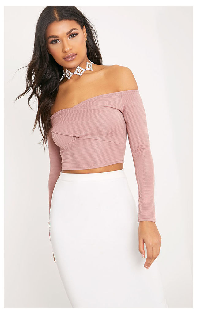 Lula Blush Cross Front Ribbed Crop Top, Pink