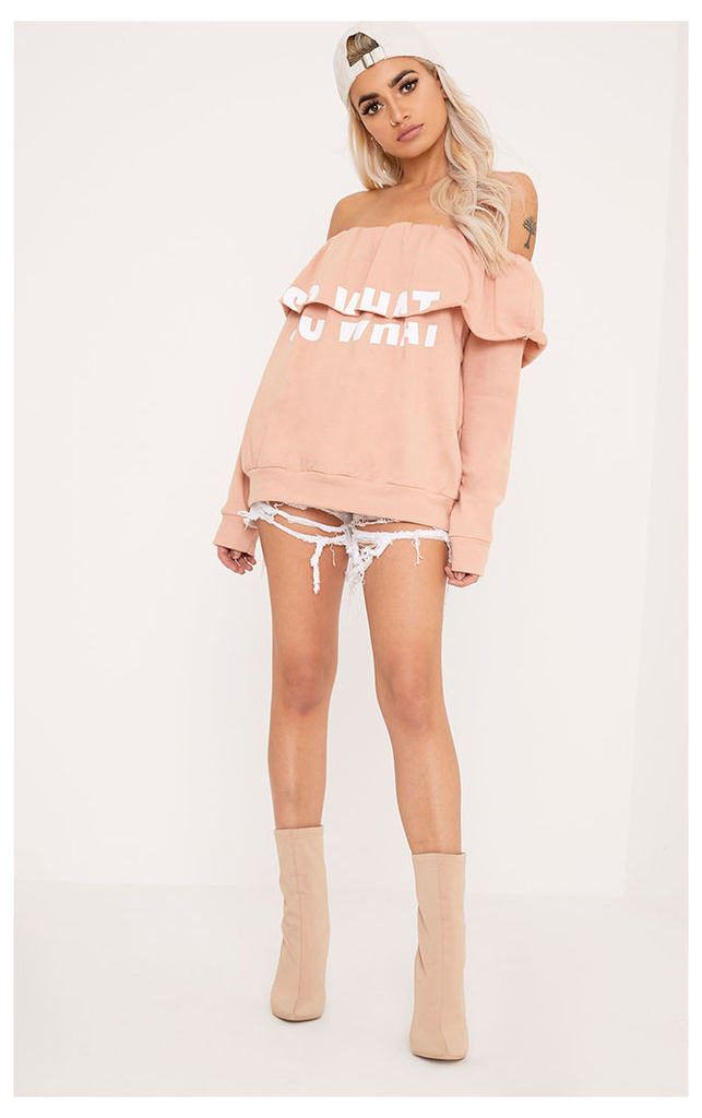 SO WHAT Slogan Dusty Coral Bardot Oversized Sweater, Dusty Coral