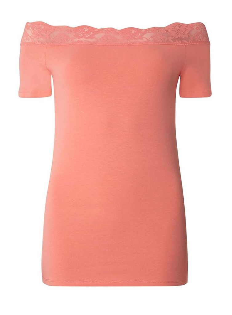 Womens **Tall Coral Lace Trim Bardot Top- Coral