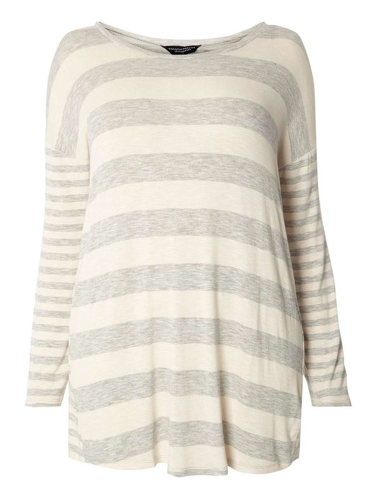 Womens DP Curve Plus Size Grey Stripe Cutabout Top- Grey