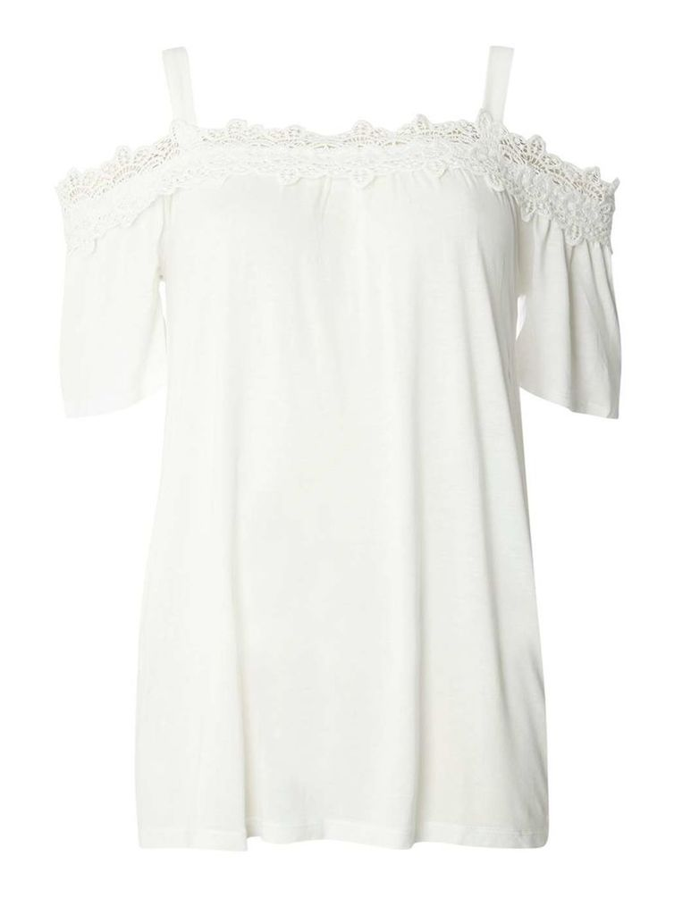 Womens Ivory Lace Trim Cold Shoulder Top- White